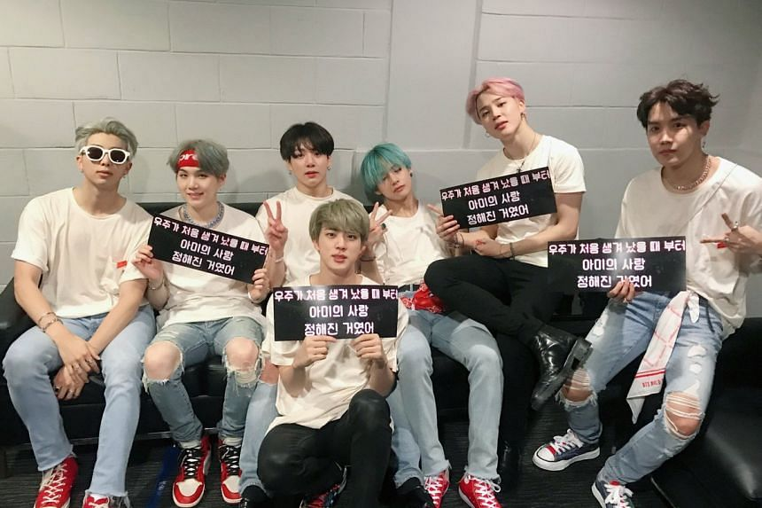 "The official BTS Twitter account tweeted pictures of BTS after the show, saying ""Thank you, Singapore!""."