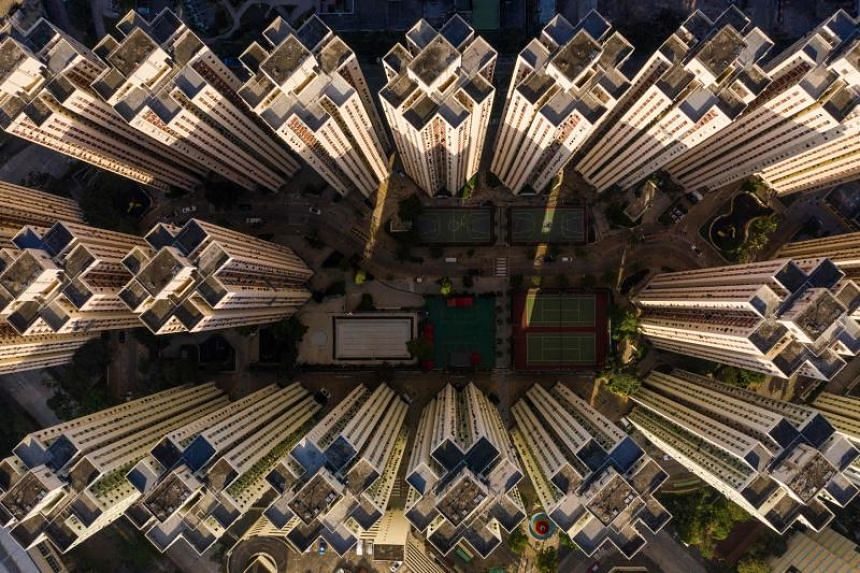 An aerial photo showing a highrise residential housing estate in Hong Kong on Dec 21, 2018. The city's median property price climbed to 20.9 times median household income in 2018, up from 19.4 times in 2017.