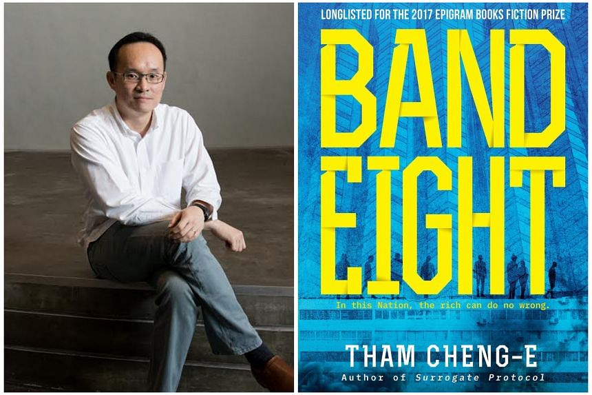 Band Eight (right) by Tham Cheng-E (left) is set in an unknown nation, but Singaporean readers will find the environment and its details familiar.