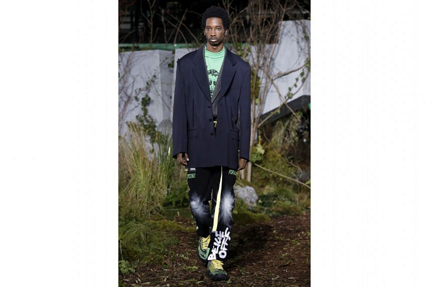 All suited up for the catwalk in Paris: Collections by Dior Homme, Dries Van Noten and Off-White (above)