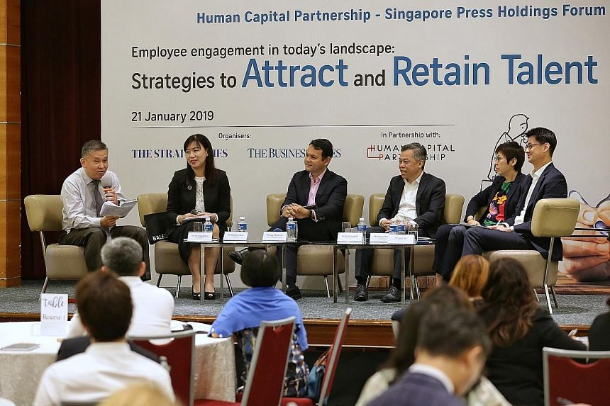 (From left) ST senior executive sub-editor Toh Yong Chuan moderating the Human Capital Partnership-Singapore Press Holdings Forum on employee engagement with five panellists: Ms Rebecca Chew, deputy managing partner of Rajah & Tann; Mr Zaqy Mohamad,