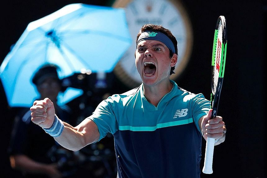 Canada's Milos Raonic is ecstatic as he celebrates his fourth-round victory over German fourth seed Alexander Zverev (below), who vented his frustration on his racket after failing to make the last eight of a Grand Slam for the 14th time in 15 appear