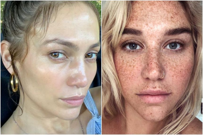 Jennifer Lopez (left) posted a cosmetic-free selfie while Kesha posted a photo that showed her face covered with freckles.