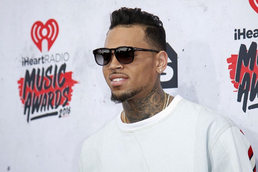Chris Brown poses at the 2016 iHeartRadio Music Awards in Inglewood, California, on April 3, 2016.