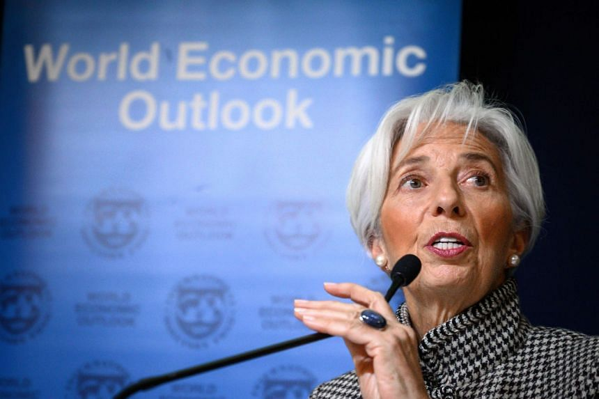 International Monetary Fund managing director Christine Lagarde giving a press conference ahead of the World Economic Forum annual meeting in Davos, eastern Switzerland, on Jan 21, 2019.