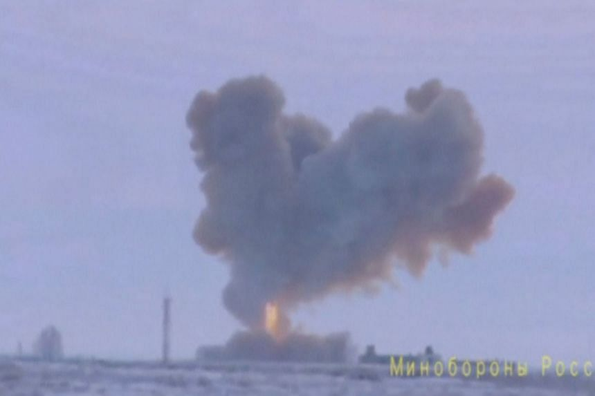 Still image of a test launch of an Avangard new hypersonic missile in Orenburg, released by Russia's Defence Ministry on Dec 26, 2018.
