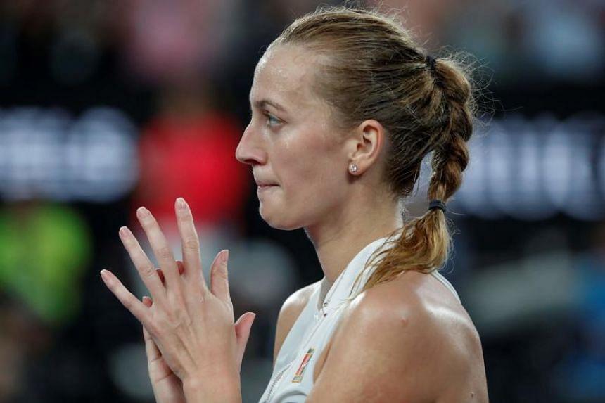 Czech Republic's Petra Kvitova applauds after winning the women's singles quarter-final match at the Australian Open tennis tournament in Melbourne on Jan 22, 2019.