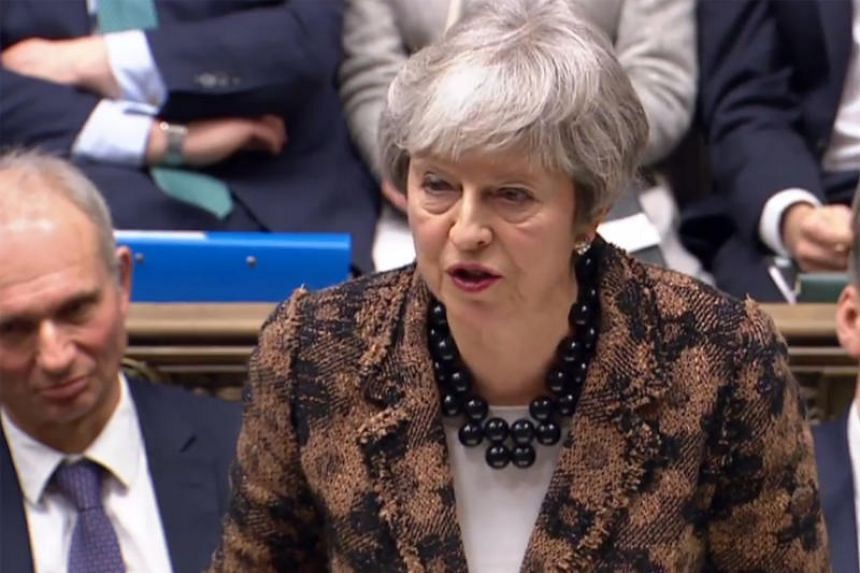 Britain's Prime Minister Theresa May making a statement to the House of Commons in London on changes to her Brexit withdrawal agreement, on Jan 21, 2019.