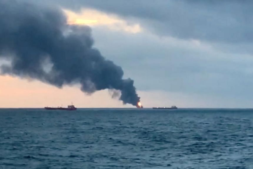 Smoke rises from a fire at a ship in the Kerch Strait near Crimea on Jan 21, 2019.