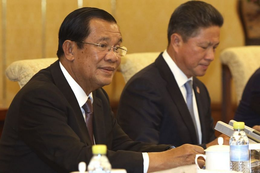 Cambodia's Prime Minister Hun Sen speaking during a meeting at the Diaoyutai state guesthouse in Beijing, China, on Jan 21, 2019.