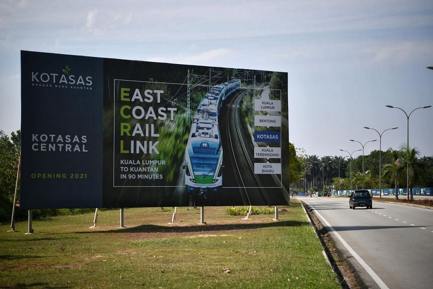A billboard advertising the Malaysia's East Coast Rail Link (ECRL) in Kota Sultan Ahmad Shah, Kuantan.