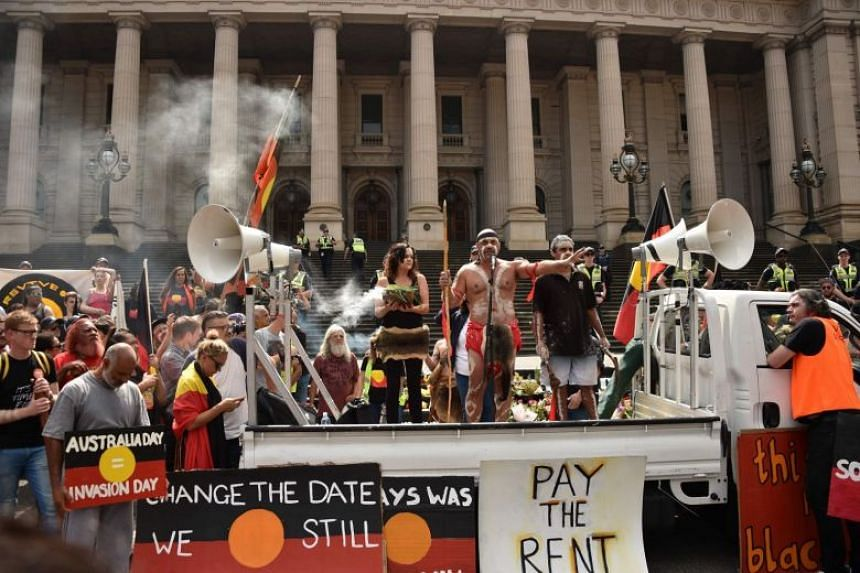 File photo of people taking part in a rally on Australia Day outside Parliament House in Melbourne, on Jan 26, 2018.