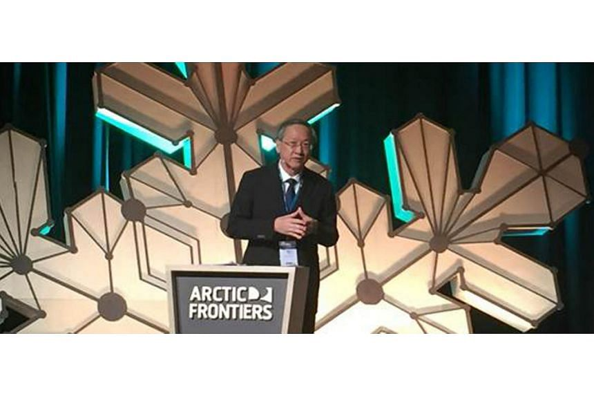 Minister of State for Foreign Affairs Sam Tan speaking at the Arctic Frontiers conference in Tromso, Norway on Jan 21, 2019.