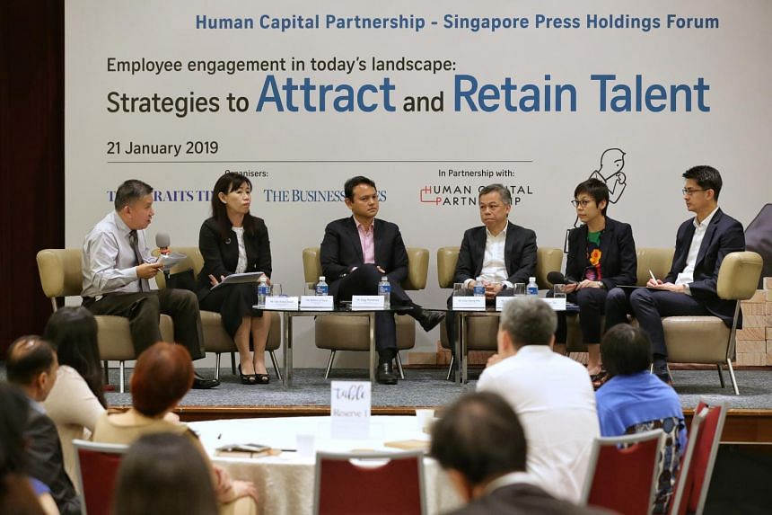 (From left) ST senior executive sub-editor Toh Yong Chuan moderating Human Capital Partnership - Singapore Press Holdings Forum on employee engagement with panellists deputy managing partner of Rajah & Tann Rebecca Chew, Minister of State for Manpowe