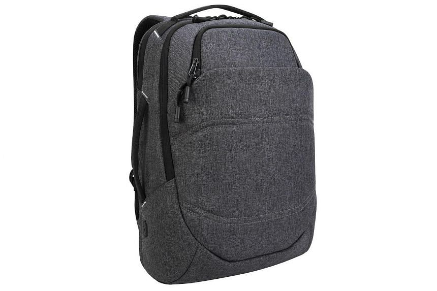 The dark grey tones and black zippered lines of the review unit conceal the three main compartments of the Targus Groove X2 Max backpack.