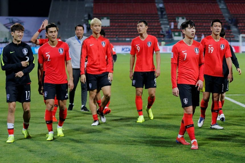 South Korea's Son Heung-Min and team mates after the match.