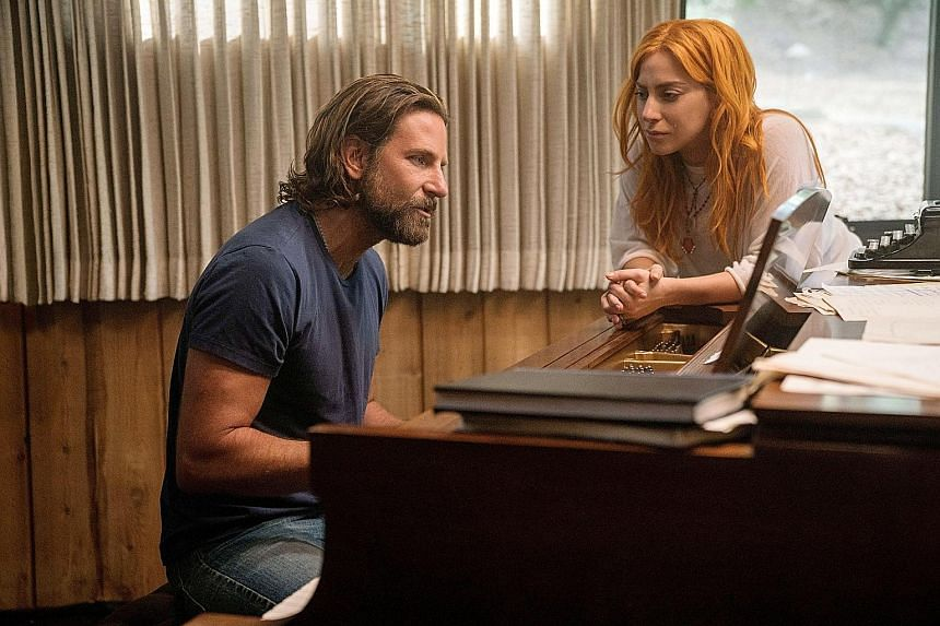 Lady Gaga and Bradley Cooper (above) in A Star Is Born, Olivia Colman (top right) of The Favourite and Rami Malek of Bohemian Rhapsody got acting nods.