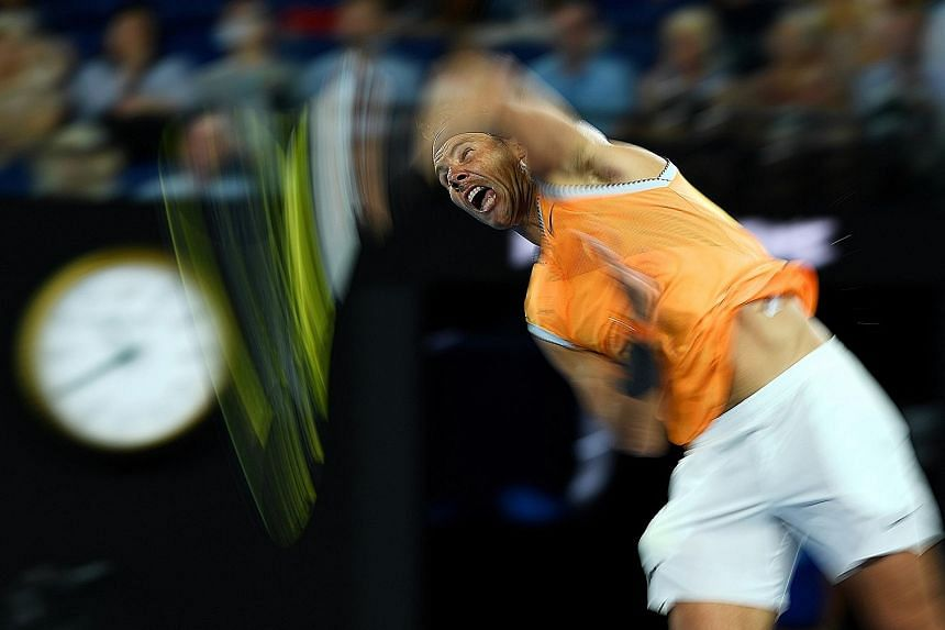 World No. 2 Rafael Nadal, serving to Frances Tiafoe, is delighted to reach the semi-finals of the Australian Open after trouncing the unseeded American 6-3, 6-4, 6-2 in Melbourne yesterday. The Spaniard has been plagued by injuries since withdrawing