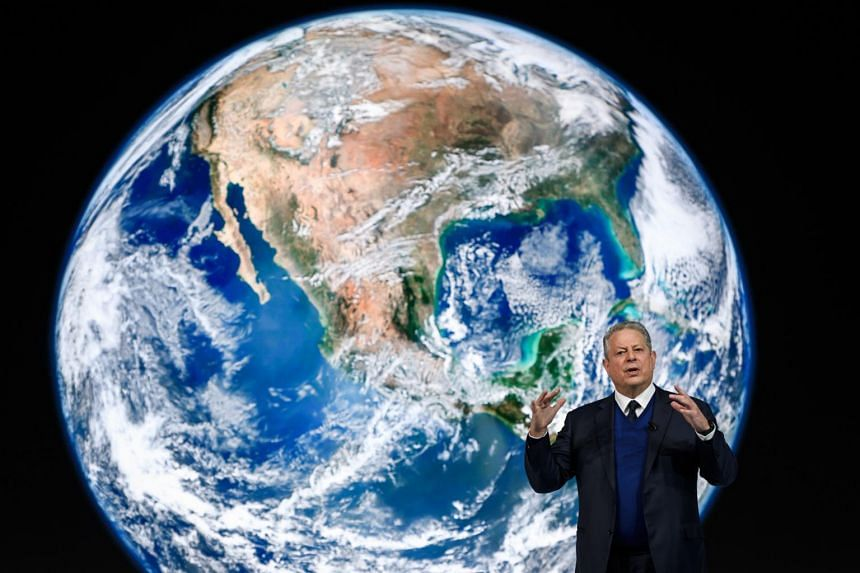 Former US vice-president Al Gore delivers a speech at the World Economic Forum in Davos on Jan 22, 2019.