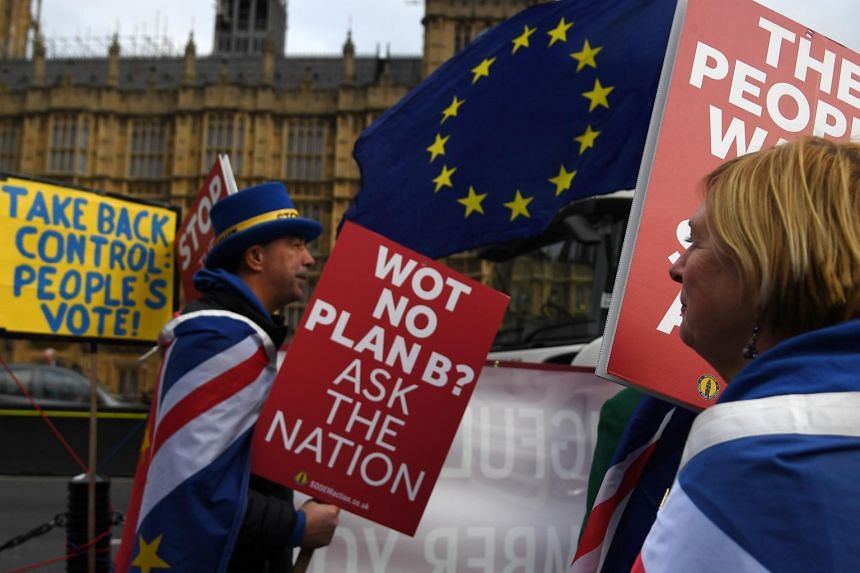 Pro EU campaigners outside the Houses of Parliament in central London on Jan 21, 2019.