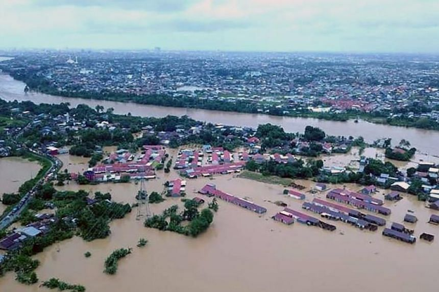 An aerial view of the flood situation in Gowa, Sulawesi, on Jan 23, 2019.