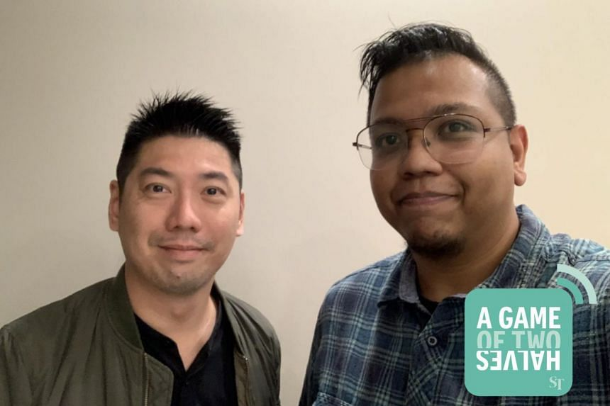 Host Sazali Abdul Aziz (right) is joined by his ST sports colleague Wang Meng Meng as they discuss one international and one local sports talking point each week in the podcast A Game Of Two Halves.