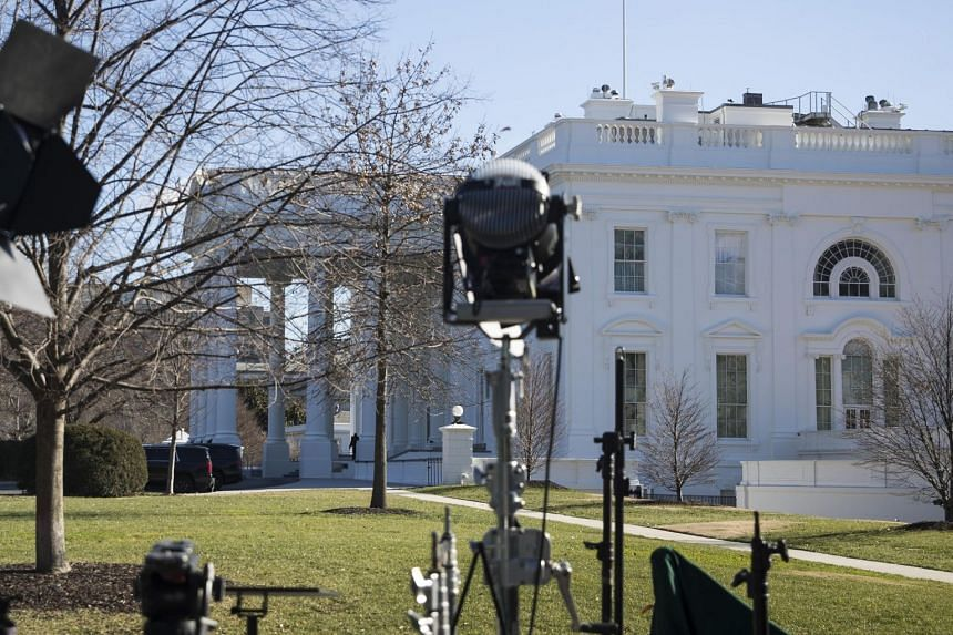 Lights and tripods on the North Lawn of the White House in Washington, Jan 10, 2019.