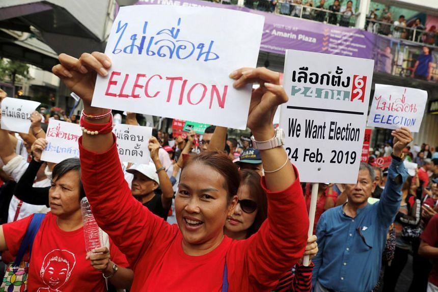 Activists and university students gather to demand the first election in Thailand to be held on Feb 24 this year in Bangkok, on Jan 8, 2019.
