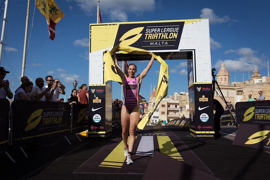 American triathlete Katie Zaferes at the Super League Triathlon in Malta where she won the gold medal after placing first in the Equaliser and Eliminator categories.