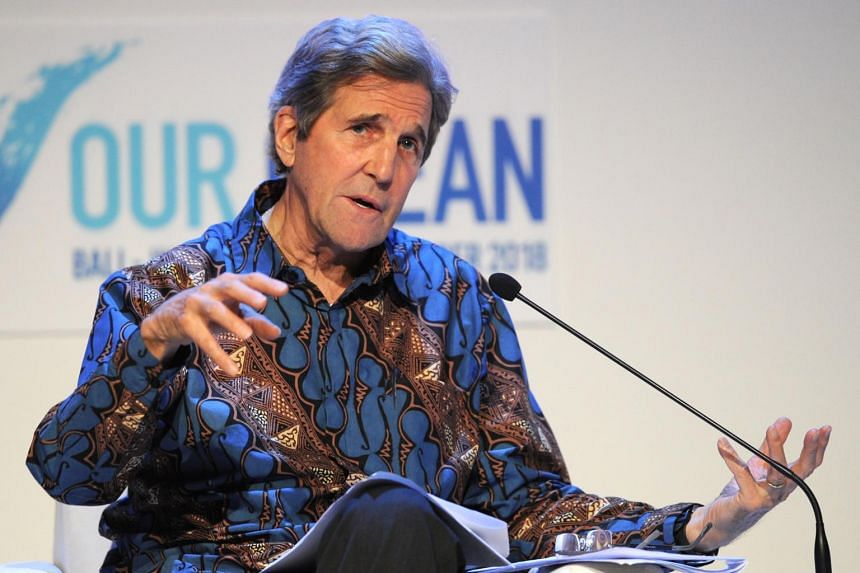 Former US secretary of state John Kerry speaking during the fifth Our Ocean Conference in Nusadua, Bali, Indonesia, on Oct 29, 2018.