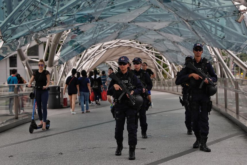 Officers from the Emergency Response Team, who are specially trained in responding to public security incidents to complement the Police's counter-terrorism capabilities, patrolling the Helix Bridge on Dec 27, 2018.