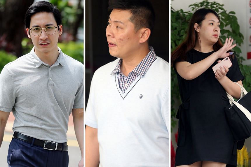 (From left) Charles Loo Boon Ann, Mike Chew Jun Yong and Priscilla Tien Ling allegedly cheated Manulife Singapore of over $14,000 by submitting bogus personal accident claims for 12 people covered by the insurer.