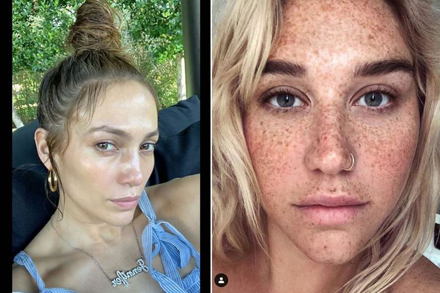 NO MAKE-UP DAY: Jennifer Lopez (right) can still turn plenty of heads, even without any make-up on her face. Indeed, her cosmetic-free selfie - taken during a winter holiday in Miami - has drawn 2.3 million likes after the 49-year-old singer-actress