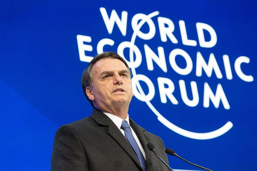 Brazilian President Jair Bolsonaro speaks during a session ate the WEF.