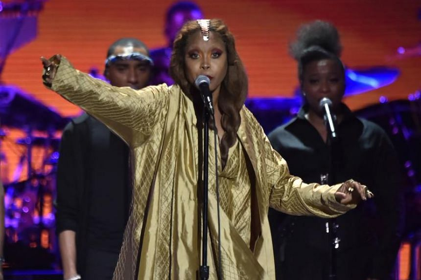 Erykah Badu performing during the 2018 Soul Train Awards at the Orleans Arena, on Nov 17, 2018, in Las Vegas, Nevada.