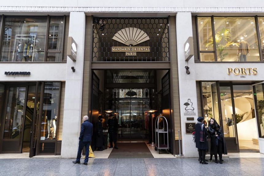 The entrance to the Mandarin Oriental Hotel, where US musician Chris Brown was staying, in Paris on Jan 22, 2019.