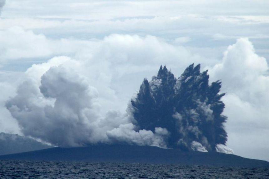 The Anak Krakatau volcano, which caused the Dec 22, 2018 tsunami, on Jan 1, 2019.