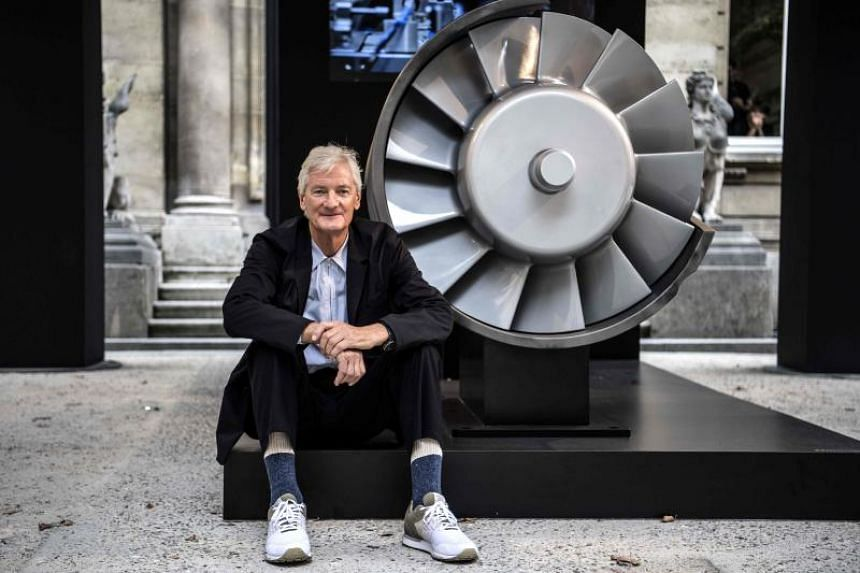 James Dyson, founder of the Dyson company, poses next to a model of an engine in Paris, on Oct 11, 2018.