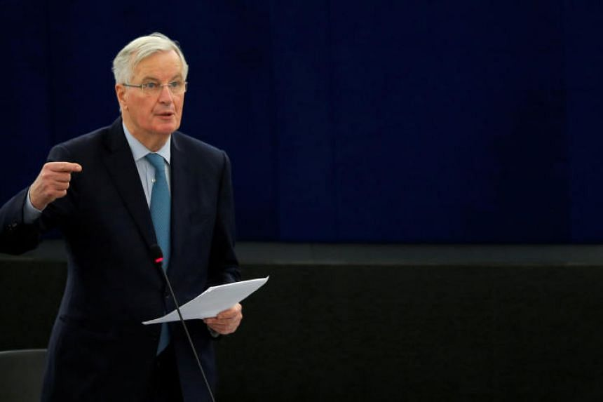 The European Union's chief Brexit negotiator Michel Barnier delivering a speech at the European Parliament in Strasbourg, France, on Jan 16, 2019.