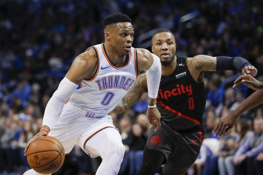 Oklahoma City Thunder's Russell Westbrook finished the game with 29 points, 10 rebounds and 14 assists.