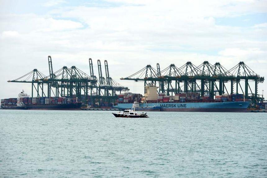 Container cargo ships berth at the Pasir Panjang terminal port in Singapore on Jan 17, 2019.