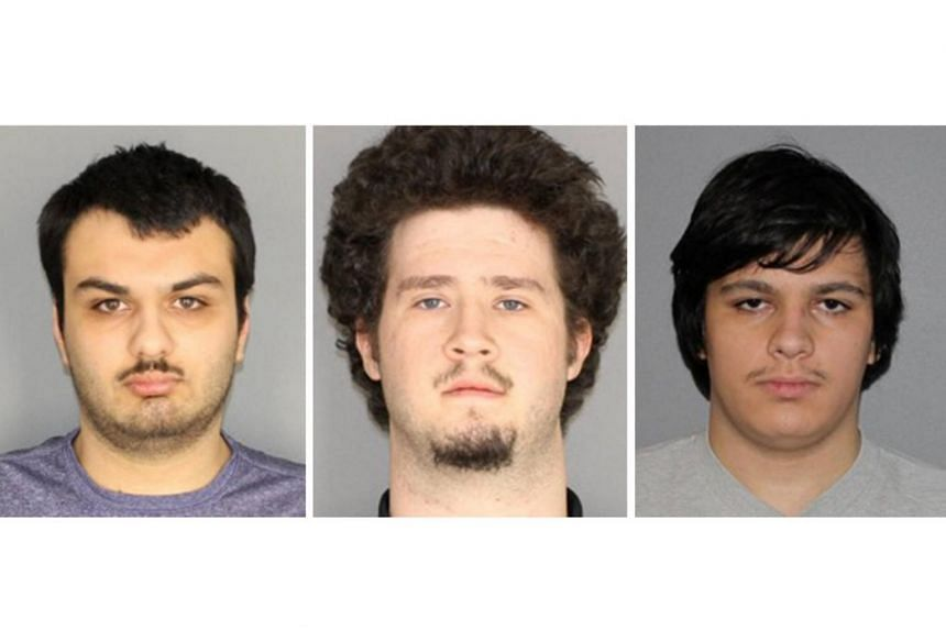 (From left) Vincent Vetromile, Brian Colaneri and Andrew Crysel were arrested on Jan 22, after planning to bomb a Muslim community in upstate New York.