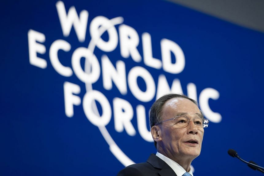 Wang Qishan during a plenary session in the Congress Hall at Davos.