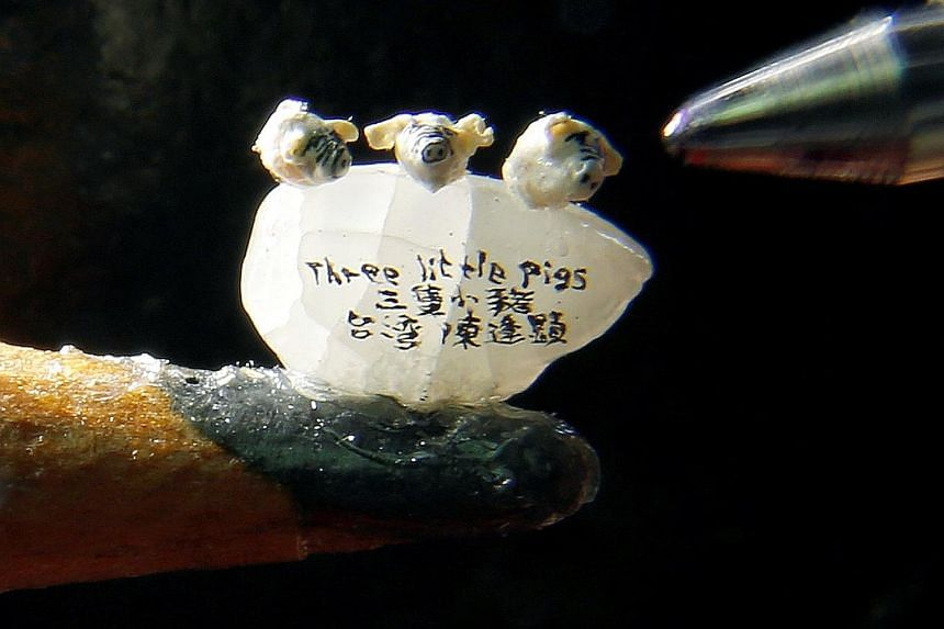 Taiwanese Chen Forng-shean is making it big with his tiny works of art. He has carved a miniature sculpture of three little pigs based on the children's fable. The pigs, each about 1mm in width and height, are placed on a single grain of rice and see