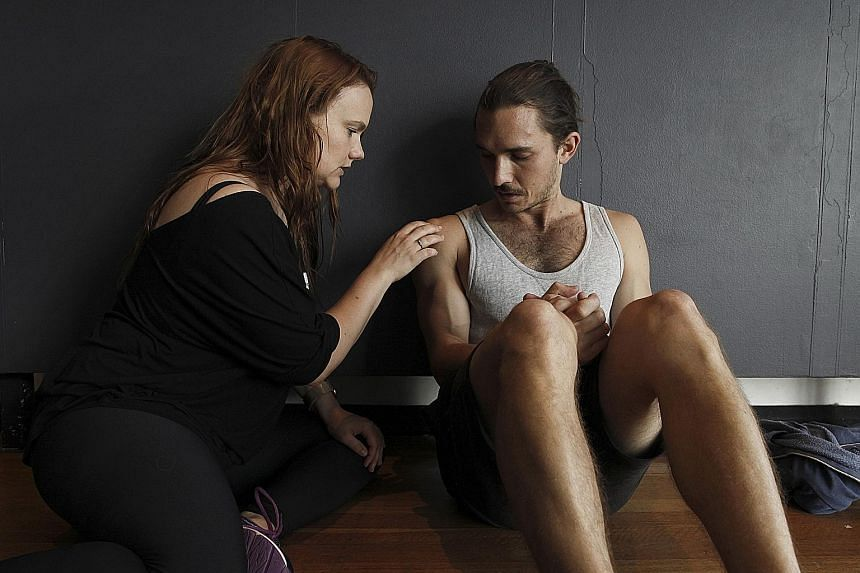 """Actors Erica Lovell and Ross Walker during an exercise in a workshop led by """"intimacy coordinator"""" Ita O'Brien in Sydney, Australia."""