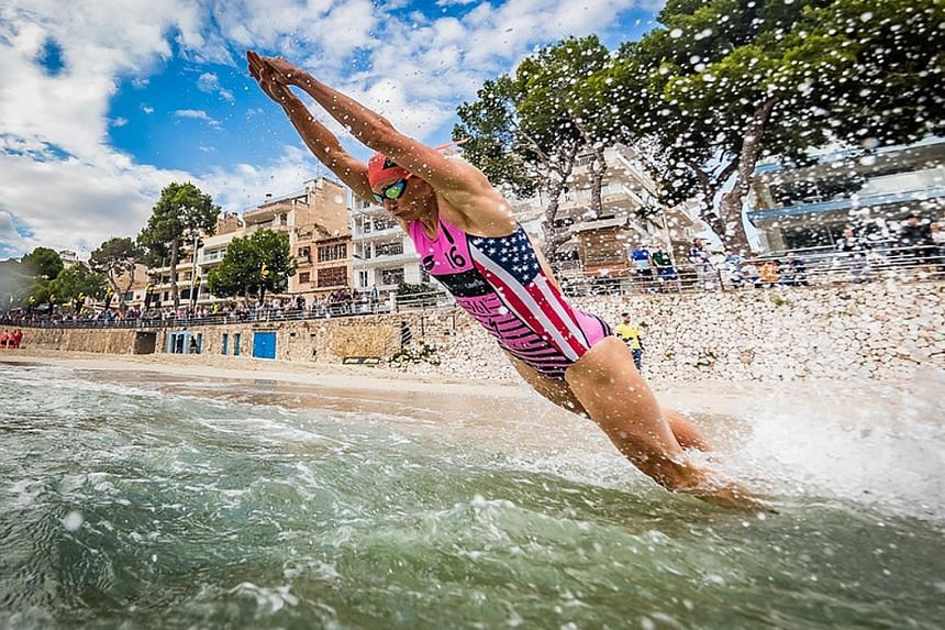 Katie Zaferes beginning her swim in Malta where she won the gold medal after topping both the equaliser and eliminator categories. The American is aiming for a medal at next year's Tokyo Olympics.