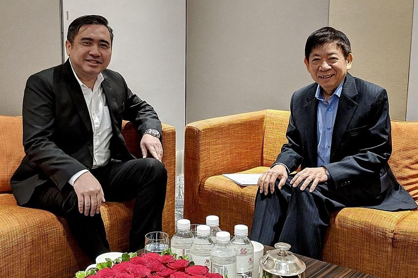Malaysian Transport Minister Anthony Loke with Mr Khaw Boon Wan yesterday. The two ministers will meet again after Chinese New Year to continue the airspace discussion.