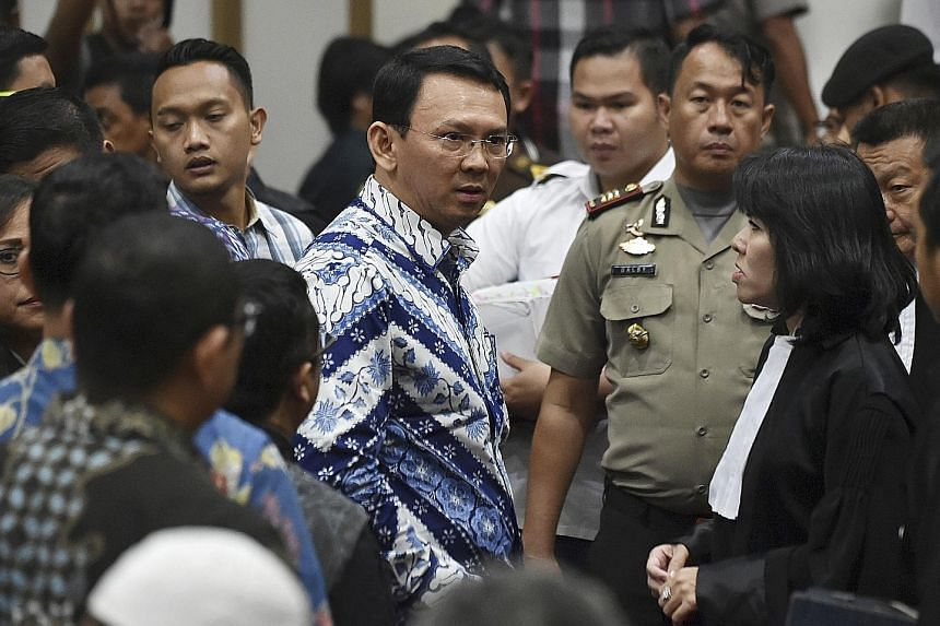 Jakarta's former governor Basuki Tjahaja Purnama, popularly known as Ahok, in this photo taken just after he was sentenced to two years' jail in May 2017 for blasphemy against Islam. His lawyer Teguh Samudera said on Tuesday that Basuki has plans to