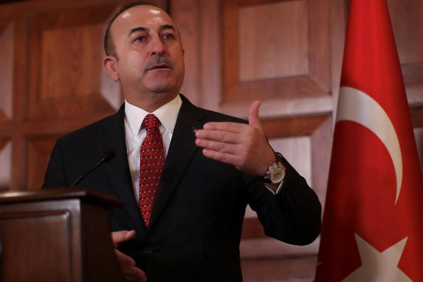 Turkish Foreign Minister Mevlut Cavusoglu speaking during a news conference in Ankara, Turkey, on Jan 14, 2019.