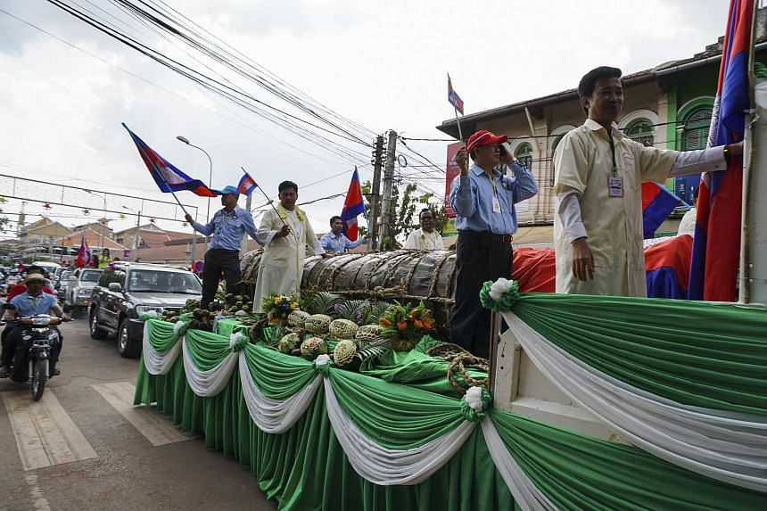 A 4,040kg rice cake being paraded in Siem Reap, Cambodia, in 2015.